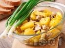 Рецепта Печено бяло пилешко месо от филе (гърди) с картофи на фурна в йенско стъкло (тенджера, съд) на фурна
